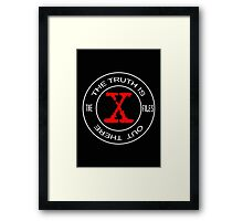 X-Files, red, white, black logo design Framed Print