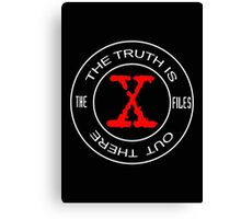 X-Files, red, white, black logo design Canvas Print