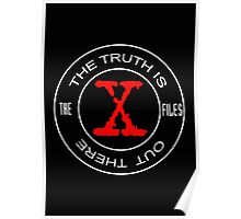 X-Files, red, white, black logo design Poster