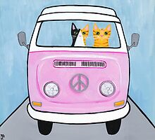 Pink Love Bus Cats by Ryan Conners