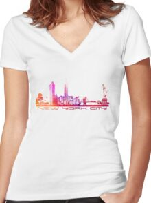 New York City skyline purple Women's Fitted V-Neck T-Shirt