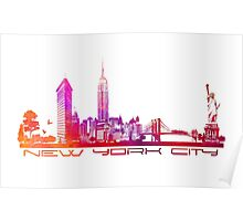 New York City skyline purple Poster