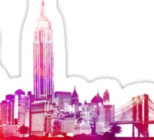 New York City skyline purple Sticker