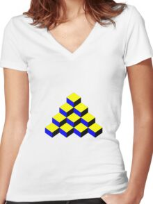3D Cubic Mosaic Effect Women's Fitted V-Neck T-Shirt