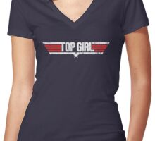 Top Girl - Top Gun Parody Women's Fitted V-Neck T-Shirt