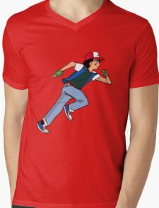 Ash Ketchum Running Mens V-Neck T-Shirt