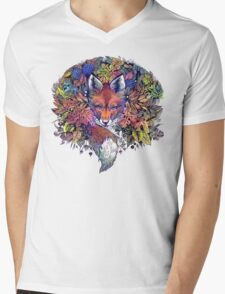 Rainbow Hiding Fox Mens V-Neck T-Shirt