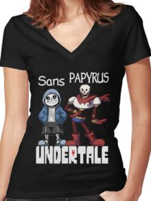 Sans and Papyrus Women's Fitted V-Neck T-Shirt