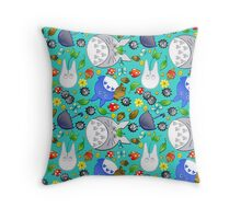 Totoro and Friends pattern Throw Pillow