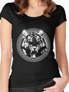 Angry Feroce Tiger Aggressive front face big cat t shirt sticker pencil hoodie Women's Fitted Scoop T-Shirt