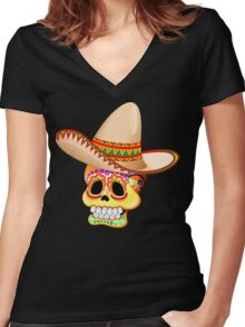 Mexico Sugar Skull with Sombrero Women's Fitted V-Neck T-Shirt
