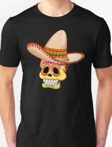 Mexico Sugar Skull with Sombrero T-Shirt