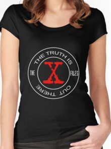 X-Files, red, white, black logo design Women's Fitted Scoop T-Shirt