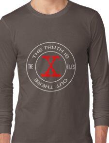 X-Files, red, white, black logo design Long Sleeve T-Shirt