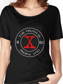 X-Files, red, white, black logo design Women's Relaxed Fit T-Shirt