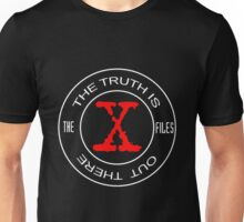 X-Files, red, white, black logo design Unisex T-Shirt