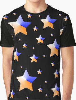 Orange and Blue Light Stars Graphic T-Shirt