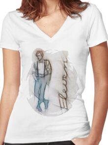 The Eleventh Doctor in Pencil Sketch Women's Fitted V-Neck T-Shirt