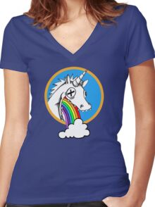 Drunk Unicorns Make Rainbows! Women's Fitted V-Neck T-Shirt
