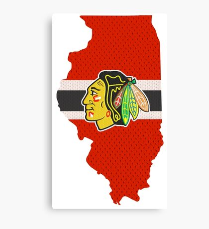 Chicago Blackhawks Jersey - Illinois Outline Canvas Print