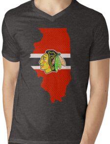 Chicago Blackhawks Jersey - Illinois Outline Mens V-Neck T-Shirt