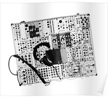 analog synthesizer illustration b&w - music equipment Poster