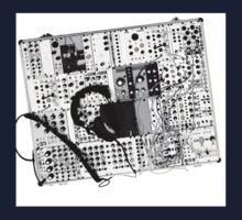 analog synthesizer illustration b&w - music equipment Kids Tee