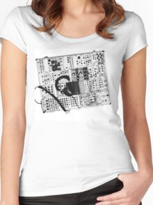 analog synthesizer illustration b&w - music equipment Women's Fitted Scoop T-Shirt