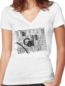 analog synthesizer illustration b&w - music equipment Women's Fitted V-Neck T-Shirt