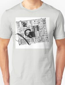 analog synthesizer illustration b&w - music equipment T-Shirt