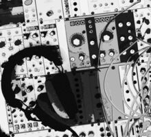 analog synthesizer illustration b&w - music equipment Sticker