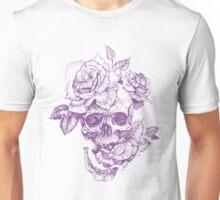 Purple Skull and Roses Unisex T-Shirt