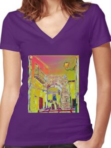 Through the arch Women's Fitted V-Neck T-Shirt