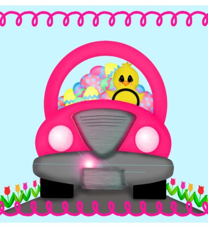 Happy Easter Spring Chick Driving Pink Car Sticker