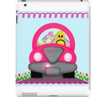 Happy Easter Spring Chick Driving Pink Car iPad Case/Skin
