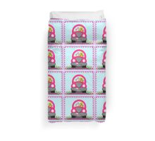 Happy Easter Spring Chick Driving Pink Car Duvet Cover