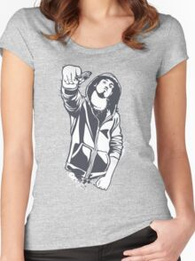 gangster threatens with a pistol Women's Fitted Scoop T-Shirt