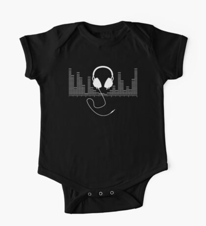 Headphones with Audio Bar Graph in White One Piece - Short Sleeve