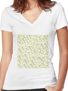 grey and yellow lightning bolt  Women's Fitted V-Neck T-Shirt
