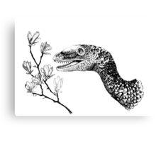 Sinornithosaurus and magnolia Canvas Print