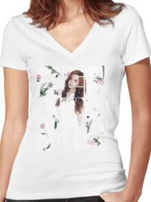 Girls' Generation (SNSD) Seohyun Flower Typography Women's Fitted V-Neck T-Shirt