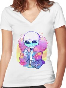 Cutie Sans Undertale Women's Fitted V-Neck T-Shirt