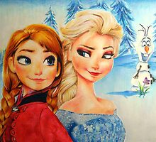 Anna and Elsa (and Olaf!)  by tarafrench