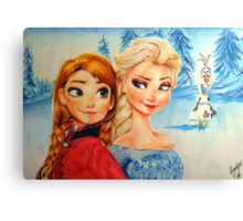 Anna and Elsa (and Olaf!)  Canvas Print