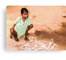 Able and disabled - Girl in Alanganeri village, India Canvas Print