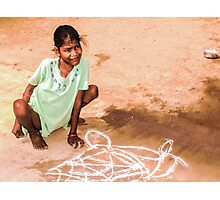 Able and disabled - Girl in Alanganeri village, India Photographic Print