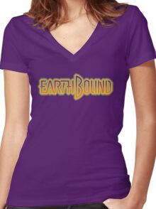 Earthbound Title Screen (Pixelated) Women's Fitted V-Neck T-Shirt