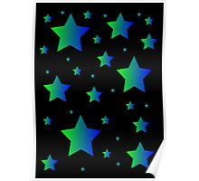 Blue and Green Stars Poster