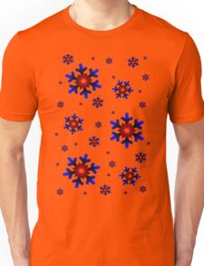 Red and Blue Snowflakes Unisex T-Shirt