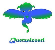 Open Wing Quetzalcoatl Blue Photographic Print